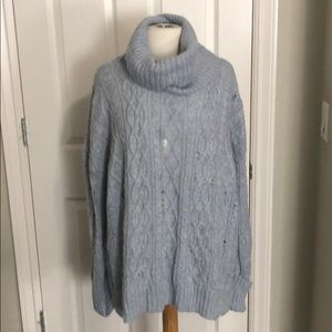 Free People L pale blue cowl neck sweater